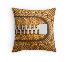 Zipper Closeup On Brown Leather Wallet Throw Pillow