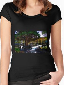 People Watching At Parque Calderon Women's Fitted Scoop T-Shirt