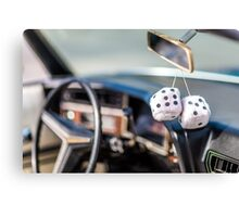 Classic Car & Furry Dice Canvas Print