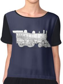 1893 World's Fastest Steam Locomotive Engine Chiffon Top