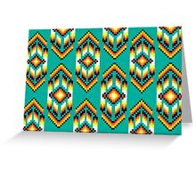 Native American Design Bead Pattern TEAL Greeting Card