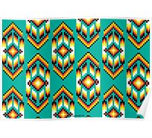 Native American Design Bead Pattern TEAL Poster