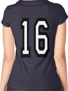 16, TEAM SPORTS, NUMBER 16, SIXTEEN, SIXTEENTH, Sweet sixteen, Competition,  Women's Fitted Scoop T-Shirt