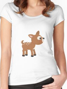 Cartoon Deer Women's Fitted Scoop T-Shirt
