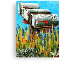 Rural Water Cooler Mail Mailbox Wildflowers Beautiful Country Canvas Print