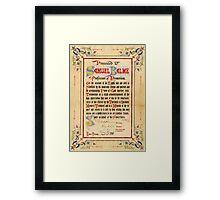 Mesmerism certificate, 1888 Framed Print