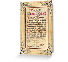 Mesmerism certificate, 1888 Greeting Card