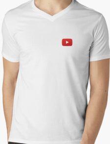 Youtube Button White Background Mens V-Neck T-Shirt