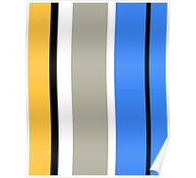 Stripy - Ochre, Grey and Blue Poster