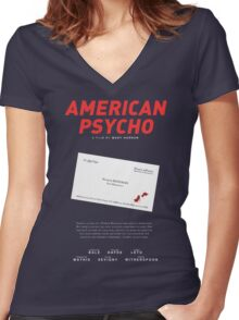 American Psycho - Bateman's blood-smeared business card Women's Fitted V-Neck T-Shirt