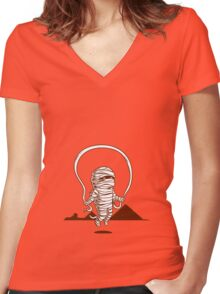 Mummy Jump Rope Women's Fitted V-Neck T-Shirt