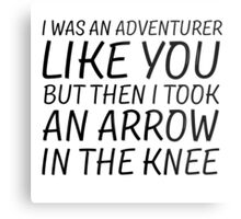 Elder Scrolls Skyrim Funny Quote Arrow To The Knee Metal Print