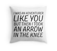 Elder Scrolls Skyrim Funny Quote Arrow To The Knee Throw Pillow