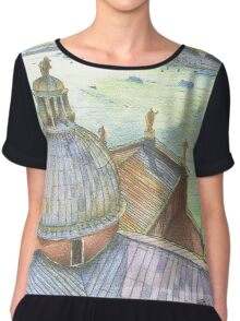 VENICE. View to Grand Canal from Basilica Di San Giorgio Maggiore.  Chiffon Top