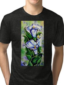 Lily Blue Flowers Purple Green Yellow Beautiful Tri-blend T-Shirt