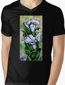 Lily Blue Flowers Purple Green Yellow Beautiful Mens V-Neck T-Shirt