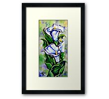 Lily Blue Flowers Purple Green Yellow Beautiful Framed Print