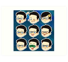 Rhett and Link Faces (Link only ver) Art Print