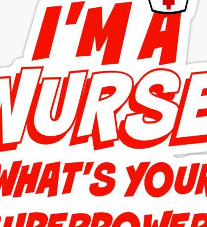 Funny Nurse Comic Superpower Nursing Red White RN LPN Medical Hero Sticker