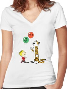 Calvin and Hobbes balloon Women's Fitted V-Neck T-Shirt