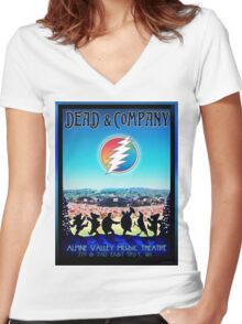 DEAD AND COMPANY SUMMER TOUR 2016 ALPINE VALLEY MUSIC THEATRE,EAST TROY,WI Women's Fitted V-Neck T-Shirt