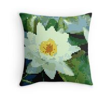 8bit lotus Throw Pillow