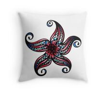 Floral Starfish b Coloured Throw Pillow