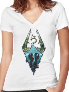 Custom Skyrim Logo Women's Fitted V-Neck T-Shirt