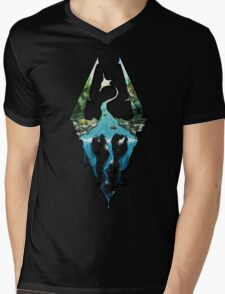 Custom Skyrim Logo Mens V-Neck T-Shirt