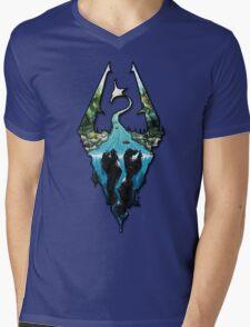 Custom Skyrim Logo Mens V-Neck T-Shirt