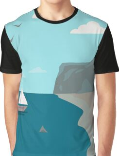 Sea shore with a boat and a shark approaching people  Graphic T-Shirt