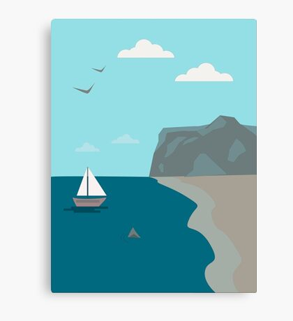 Sea shore with a boat and a shark approaching people  Canvas Print