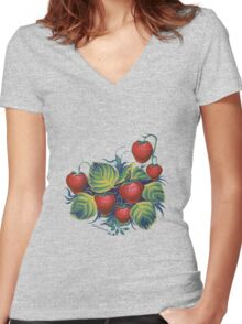 Strawberry glade Women's Fitted V-Neck T-Shirt