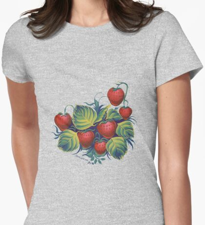 Strawberry glade Womens Fitted T-Shirt