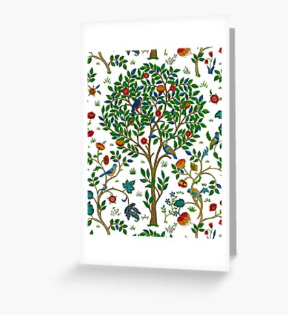 William Morris Tree of Life, Green  Greeting Card