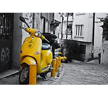 YELLOW SCOOTER MOTORBIKE VITANGE STREET Photographic Print