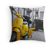 YELLOW SCOOTER MOTORBIKE VITANGE STREET Throw Pillow
