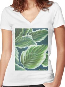 Hosta Plant Leaves Painting Women's Fitted V-Neck T-Shirt