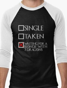 Waiting for a blonde with 3 dragons (white text + cross) Men's Baseball ¾ T-Shirt