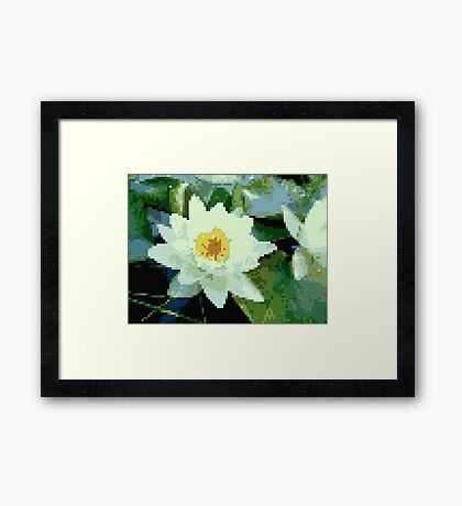 8bit lotus Framed Print