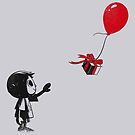 villager with a ballon by coinbox tees