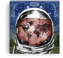 astronaut world map 6 Canvas Print