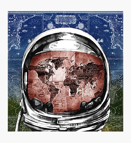 astronaut world map 6 Photographic Print