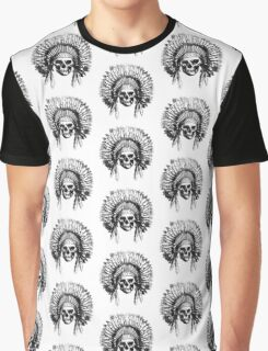 Vintage Chief Skull Design Graphic T-Shirt