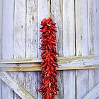 Red Peppers Rista on Lavender Door by Catherine Sherman