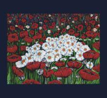 Rubies And Pearls Flowers Daisy Poppy Poppies Daisies Field Wildflowers  Kids Tee