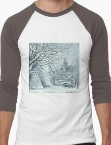 Mountains and Trees on a Snowy Day Men's Baseball ¾ T-Shirt