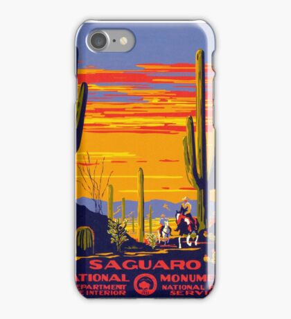 Saguaro National Park Vintage Travel Poster iPhone Case/Skin