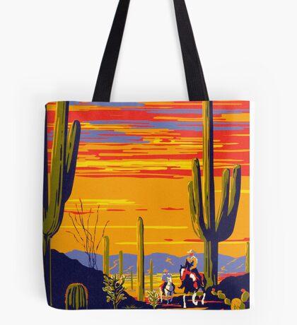 Saguaro National Park Vintage Travel Poster Tote Bag