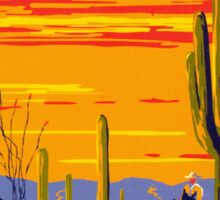 Saguaro National Park Vintage Travel Poster Sticker